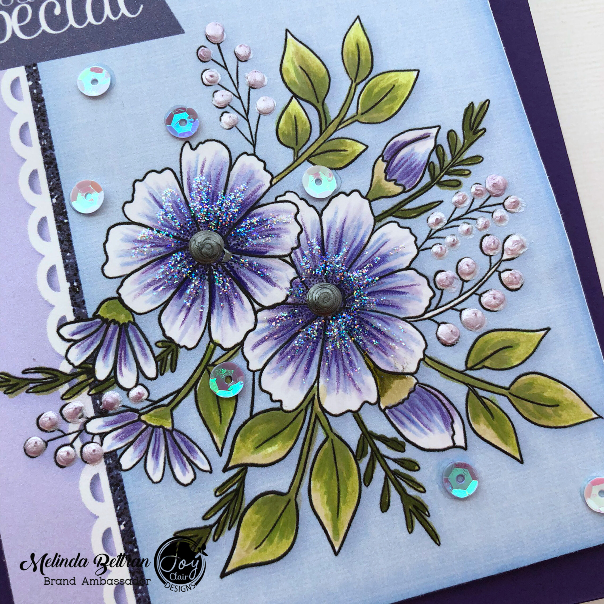 Close up of the digital flowers colored with alcohol markers and color pencils to make it more attractive.