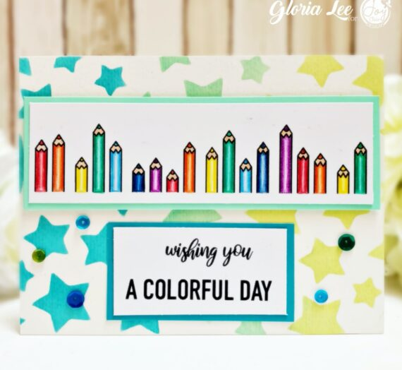 Colorful card with Digital stamp