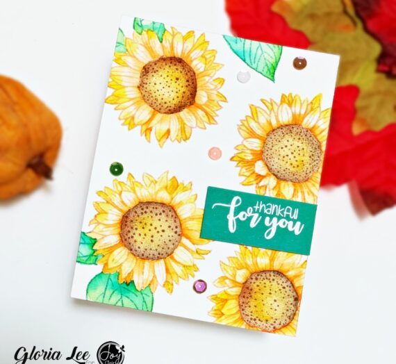 No line water coloring using Thankful for you stamp