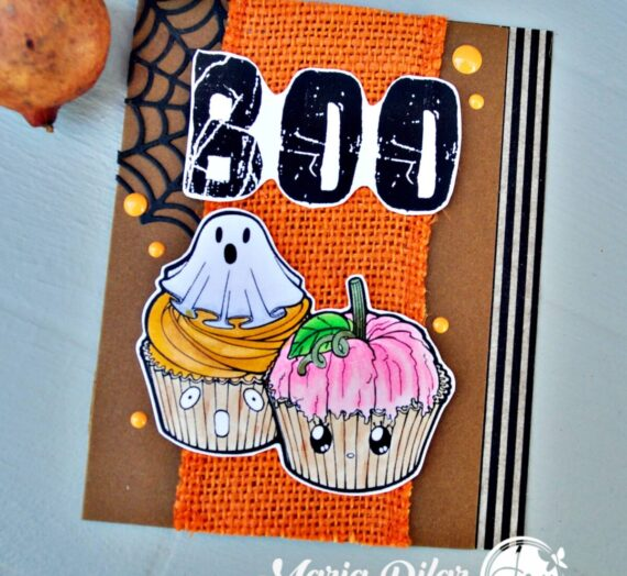 Sweet Halloween card with burlap