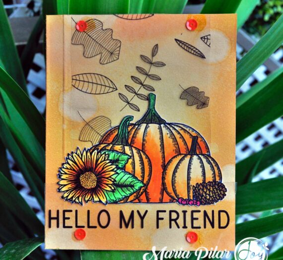 Fall card stamped on acetate