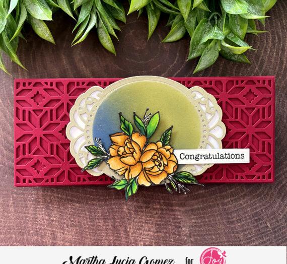 Floral Slimline Colored Card