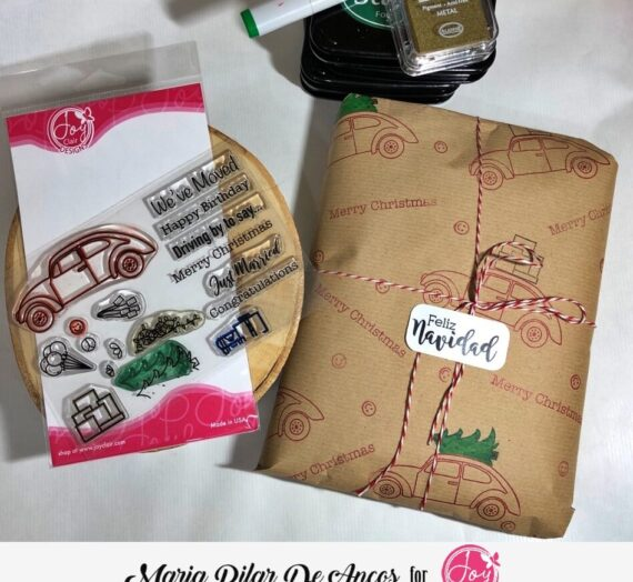 Decorating wrapping paper with stamps