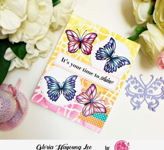 stencil background butterflies card