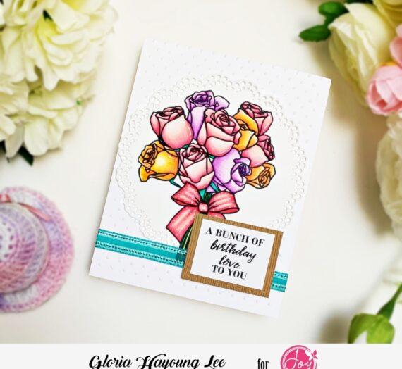 white background rose bouquet birthday card