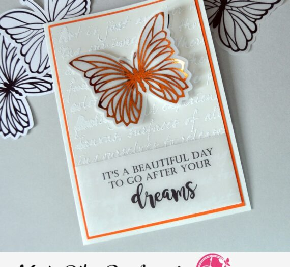 Butterflies card with textures