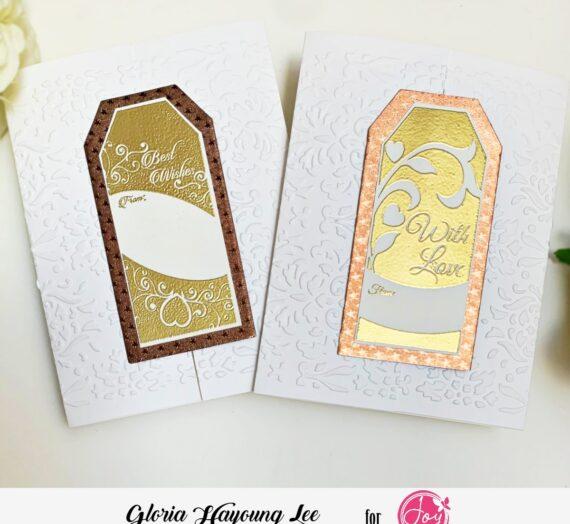 Gatefold gold embossing wedding card