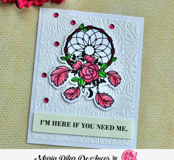 Floral catcher with embossed background