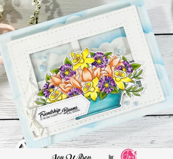 Spring Floral Basket Window Card